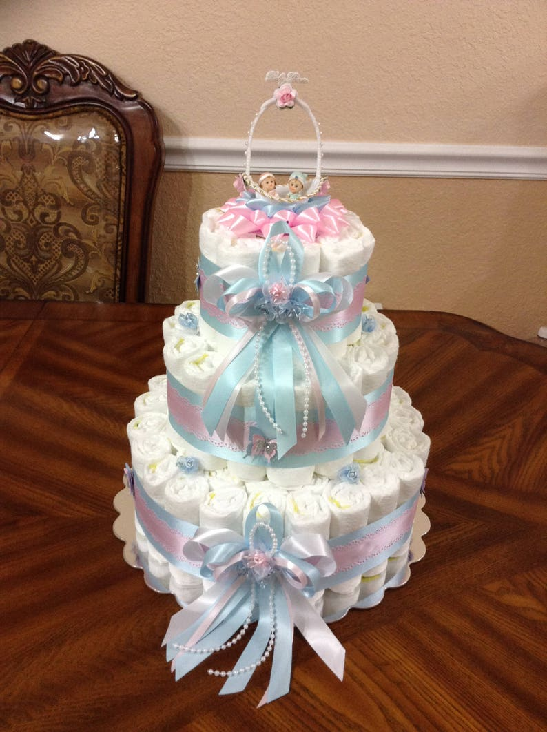 Pink And Blue Gender Reveal Diaper Cake Twin Baby Etsy