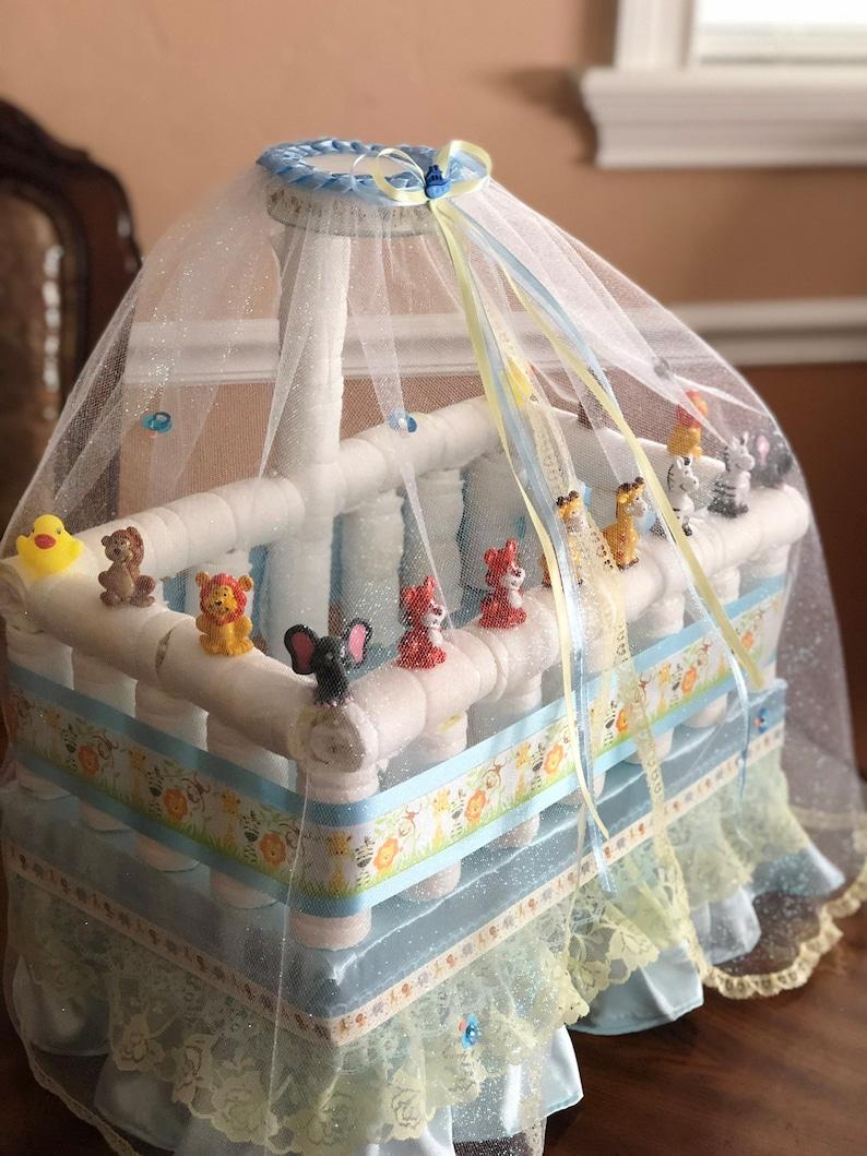Noah's Ark Diaper Crib/ Twin Baby Shower/ Elegant Diaper ...