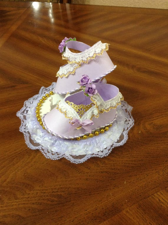 6f5bc93b2fa9e Unique Cake Topper Shoes/ Elegant Baby shower/ Lavender and Gold Cake  Topper Shoes/ Girl Baby Shower/ Favors Shoes.