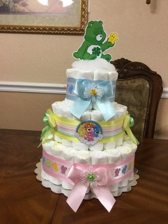 Care Bear Diaper Cake Care Bears Baby Shower Neutral Baby Etsy