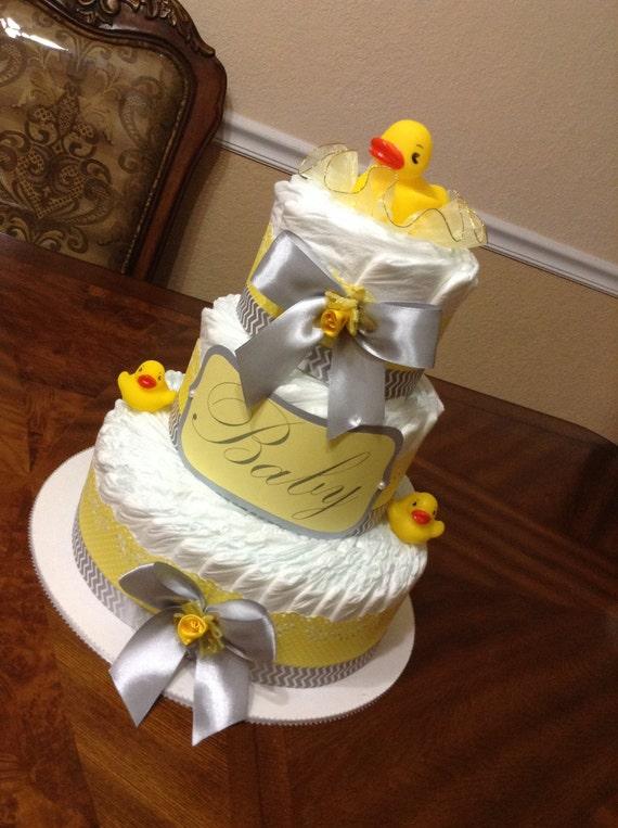 Rubber Ducky Diaper Cake/ Elegant Diaper Cake/ Rubber Ducky | Etsy
