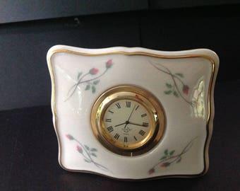 Lenox Rose Manor Porcelain Quartz Clock with 24k Gold Trim and Rosebuds