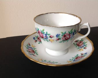 Vintage Royal Malvern Teacup with Roses Bone China