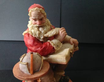 Saint Nicholas & Me Resin Santa Claus with Globe and Big Book 1994