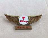 Vintage Midway Airlines Junior Pilot Wings Plastic Pin