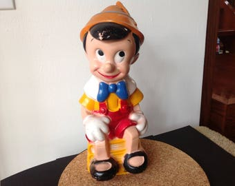Vintage Pinocchio Large Plastic Bank Walt Disney Products 1970s
