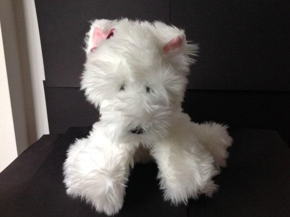VICTORIA SECRETS WHITE PLUSH DOG WITH PLAID JACKET GUND