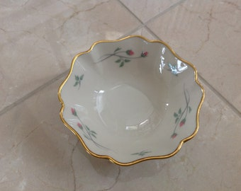 Vintage Lenox Rose Manor Jewelry Trinket Dish Gold Rimmed