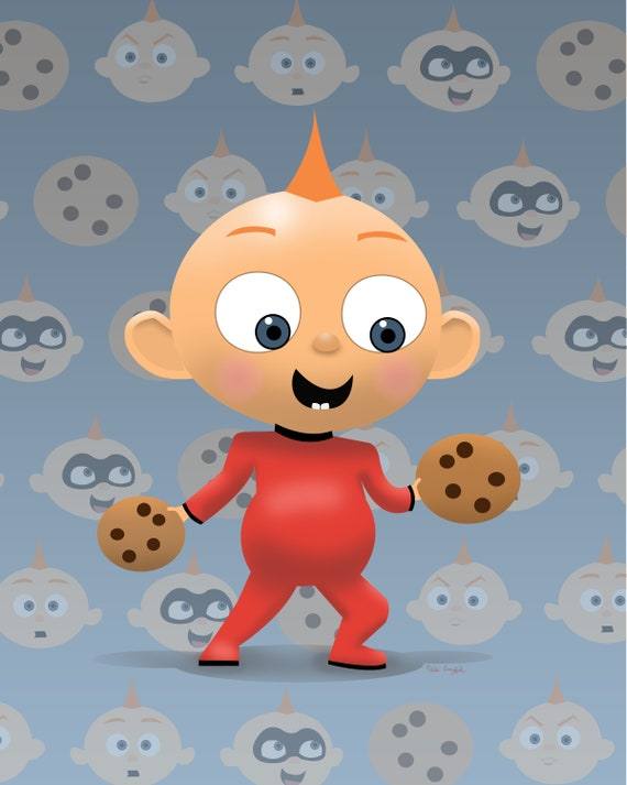 Baby Jack Jack And Cookies From Incredibles 2 Art Print 8x10 Etsy