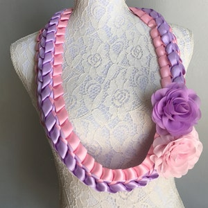 Double Braided Satin Ribbon Lei for Graduation Day and Other Special Occasions GRADUATION SPECIAL Customizable