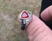 Natural Spessartite Mandarin Orange Sterling Silver Ring 925 (untreated)