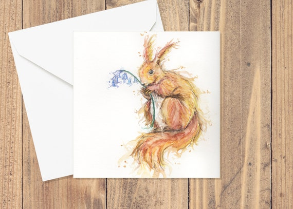 Red Squirrel Card / Cute Animal Art / Watercolour Pencil Cards