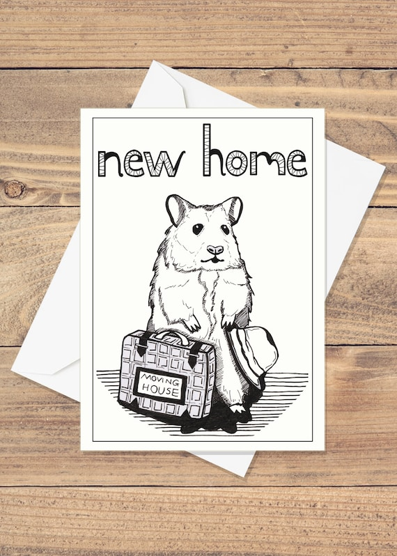 New Home Card Cute Hamster Drawing Handmade Moving Etsy