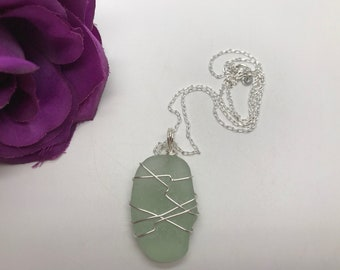 Wire Wrapped Scottish Sea Glass Pendant & Sterling Silver Necklace