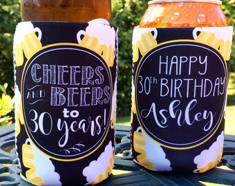 Birthday insulated can / bottle coolers  - Cheers and Beers to 21, 30, 40, 50 Years