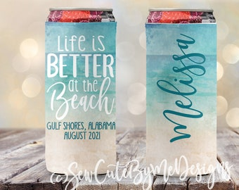 Personalized Slim Can Coolie Beach Vacation Slim Can Coolers Life is Better at the Beach Bachelorette Party Slim Can Coolers Watercolor