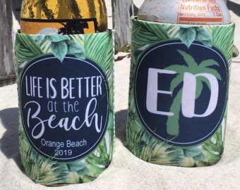 Bachelorette Party Slim Can Coolers Blue Tropical Palms Beach Vacation Slim Can Coolers Drink Up Beaches Personalized Slim Can Coolie