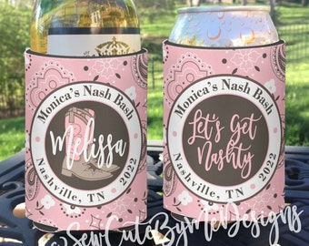 Bachelorette Party insulated can / bottle coolers Pink Bandana Individually Personalized - Let's Get Nashty Nashville Nash Bash