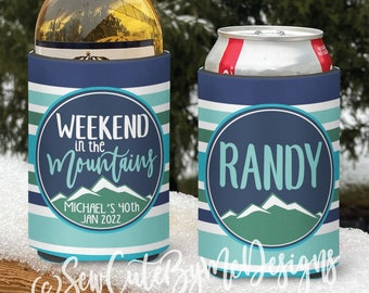 Mountain vacation Snow Ski Themed insulated can/bottle coolers - Weekend in the Mountains Ski Coolies - personalized - Vacation Coolies