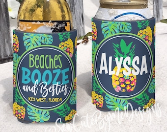 Family Beach Vacation Insulated can bottle coolers.  Beaches Booze and Besties. Pineapple Coolies.