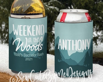 Mountain vacation Snow Ski Themed insulated can/bottle coolers - Weekend in the Woods Ski Coolies - Bachelor Party - Vacation Coolies