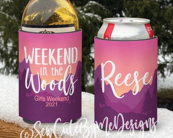 Mountain vacation Snow Ski Themed insulated can/bottle coolers - Weekend in the Woods Ski Coolies - Girls Weekend - Vacation Coolies