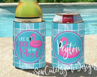 Pool Party insulated can bottle coolers  Personalized. Life is Cool by the Pool. Flamingo Floatie