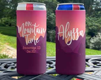 Personalized Slim Can Coolers - Mountain Vacation Slim Can Coolie - On Mountain Time - Family Vacation Slim Can Coolers - Ski Slim Coolies