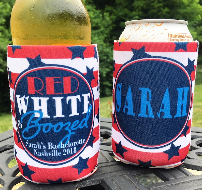 Red White Boozed 4th of July Holiday Custom Bachelorette Wedding Party insulated can  bottle coolers Personalized