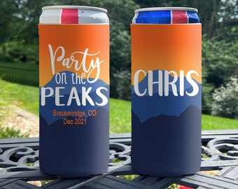 Personalized Slim Can Coolers - Mountain Vacation Slim Can Coolie - Party on the Peaks - Family Vacation Slim Can Coolers - Ski Slim Coolies