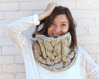 Chunky Cabled Knit Cowl Scarf | Knit Winter Cowl