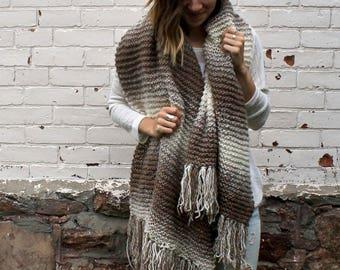Knit Ombré Blanket Fringe Scarf   Oversized Tassel Scarf