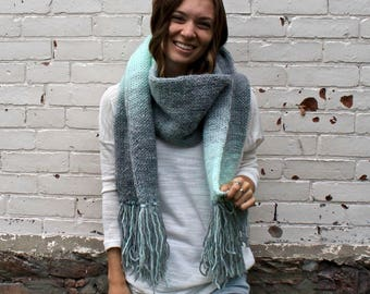 Ombre Knit Fringe Scarf | Open Ended Tassel Scarf
