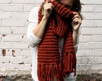 Chunky Knit Fringe Scarf | Open Ended Tassel Winter Scarf