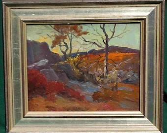 Free ship SALE Small oil Listed Artist Ogunquit ME Partridge titled Late Morning Glow November