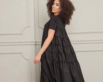 0f4957c40282 Plus Size Dress, Women Dress, Plus Size Clothing, Summer Dress, Midi Dress,  Short Sleeve Dress, Loose Black Dress, Women Summer Clothing