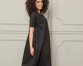 Summer Maxi Dress, Black Maxi Dress, Women Black Dress, Maternity Dress, Short Sleeve Dress, Long Black Dress, Large Size Dress,Casual Dress