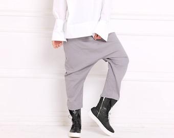 Women Harem Pants, Gray Pants, Women Trousers, Maxi Pants, Minimalist Pants, Baggy Pants, Bohemian Clothing, Long Trousers, A3060