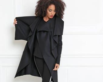 Plus Size Clothing/ Cashmere Coat/ Asymmetric Coat/ Wool Coat / Black Coat/ Warm Jacket/ Black Jacket/ Winter Coat/ Winter Clothing/ Urban