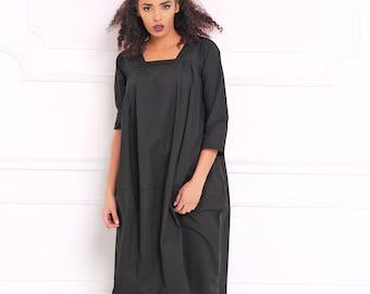 Women Black Dress, Cotton Dress, Sweater Dress, Loose Dress, Tunic Dress, Knee Length Dress, Gothic Clothing, Steampunk Dress, A3047