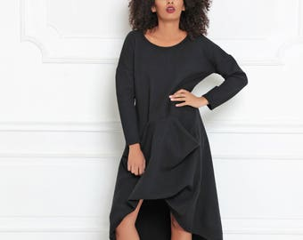 Gothic Dress, Women Black Dress, Plus Size Clothing, Convertible Dress, Hipster Clothing, Asymmetrical Dress, Loose Dress, Avant Garde Dress