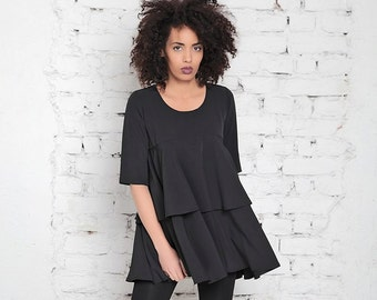 a7979b284278fc Gothic Blouse/ Womens Loose Top/ Oversized Blouse/ Black Ruffle Top/ Peplum  Blouse/ Sexy Black Blouse/ Evening Blouse/ Classic Top