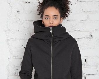 Black Oversized Hoodie Women, Big Hood Hoodie, Black Sweatshirt, Plus Size, Zip Up Hoodie, Women Jacket, Hoodie Sweater, Hooded Sweatshirt