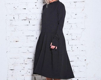 3a3d9e63a Black Sweater Dress/ Black Goth Dress/ Winter Dress/ Long Sleeve Dress/  Office Dress/ Black Minimalist Dress/ Plus Dress/ Simple Dress