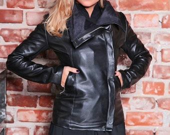 Black Leather Jacket/ Womens Jacket/ Plus Size Leather Jacket/ Leather Blazer Jacket/ Black Blazer/ Black Jacket/ Asymmetric Jacket/