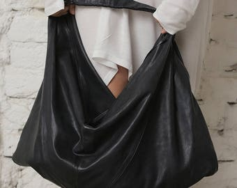 Black Leather Bag, Leather Tote, Shopping Bag, Shoulder Tote Bag, Travel Bag, Women Tote, Gothic Bag, Black Hand Tote, Casual Leather Bag