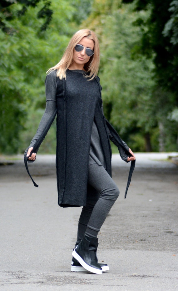Long Sleeveless Wool Oversize Coat Vest Vest Womens Vest Black Cardigan Cardigan Sweater Cardigan Cardigan Knit Cardigan Wool Maxi Fttqna5w