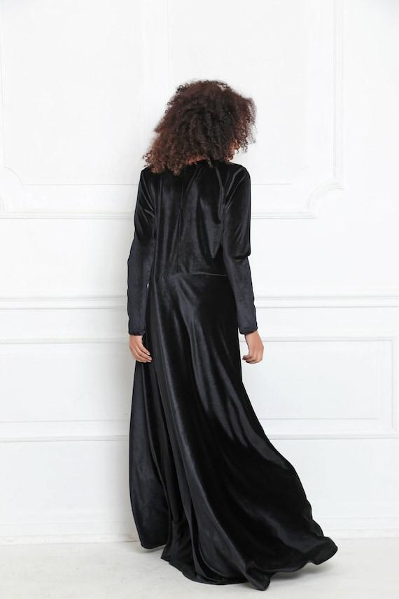 Samt, Langärmliges Kleid schwarz Samtkleid, Cocktailkleid, samt Kleidung, samt Maxi Kleid, Maxi Kleid, Plus Größe Party Kleid