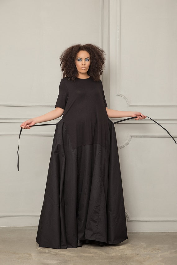 Plus Size Maxi Dress, Black Maxi Dress, Women Maxi Dress, Plus Size  Clothing, Gothic Maxi Dress, Long Maxi Dress, Trendy Maxi Dress