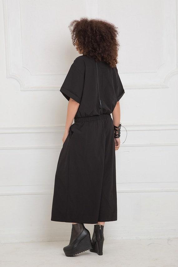 Overall Maxi Jumpsuit Japanese Gothic Harem Minimalist Clothing Clothing Women Jumpsuit Size Black Plus Pants Romper Black Clothing ZYqxA